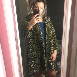 VINTAGE Faux Leopard Cheetah Print Coat